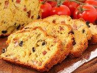 Солен кекс с маслини и телешки колбас